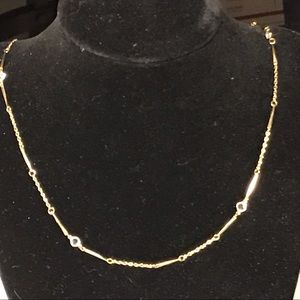 Vintage gold toned Necklace w/ Crystal beads
